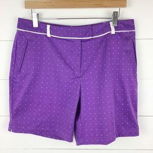 Lady Hagan 10 Flat Front Golf Shorts Lavender Dot